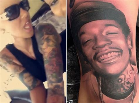 amber rose tattoo got husband wiz khalifa s tattooed on