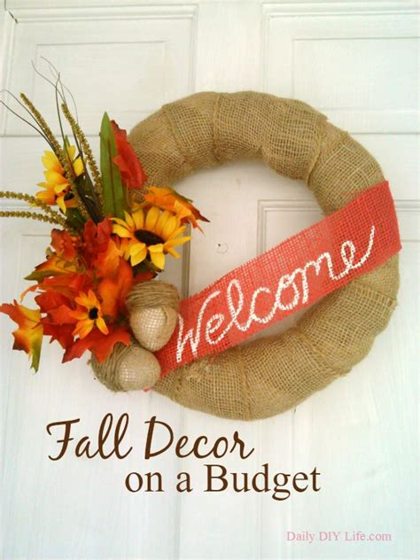 decorate for fall on a budget burlap acorns fall decor on a budget