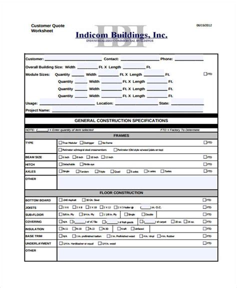 construction estimating excel spreadsheet and quote general template
