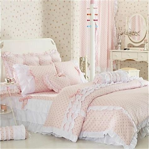 korean bedding fadfay pink polka dot bedding sets rustic cute girls duvet