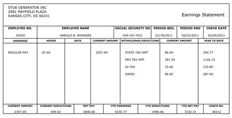 Free Printable Blank Paycheck Stubs Here S An Exle Of The Quality Paystub Sle Our Free Pay Stub Template
