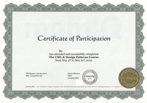 certificate of participation in workshop template courses
