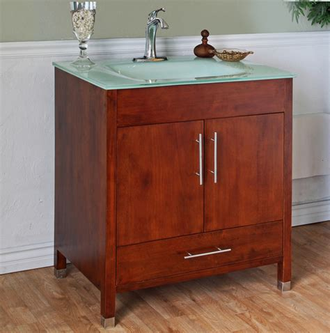 medium walnut 32 inch single bathroom vanity and sink