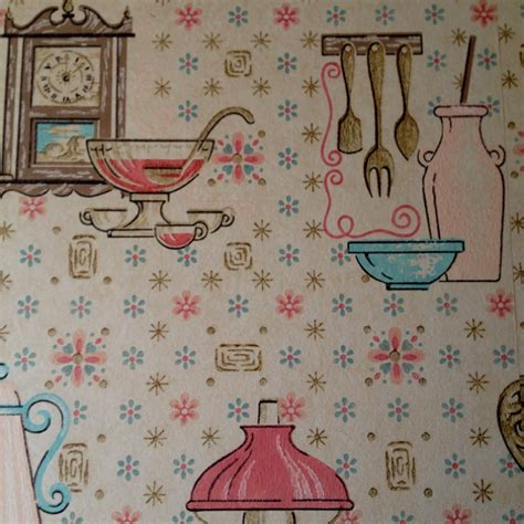 vintage kitchen wallpaper oil lanterns and pink pots and