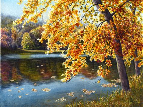 Landscape Print Fall Lake Watercolor Landscape Print Of Original By