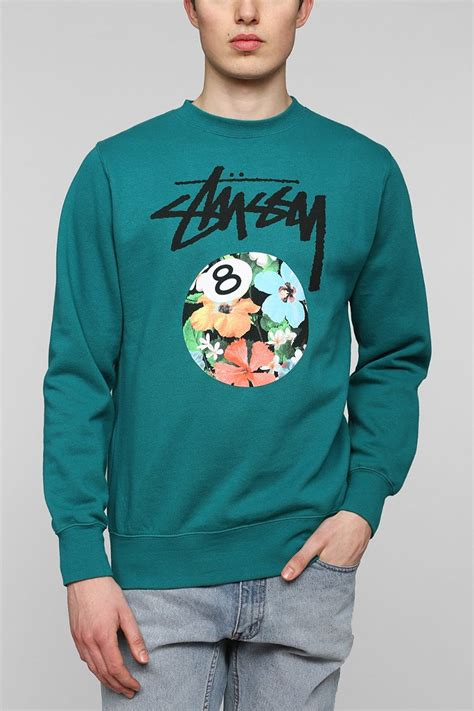 Hoodie Stussy Patta 1sweater stussy floral 8 pullover sweatshirt in green for olive lyst