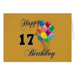 happy 17th birthday design with balloons card zazzle
