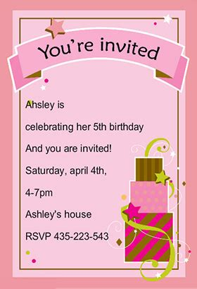 free birthday invitation card templates birthday invitation cards template best template collection
