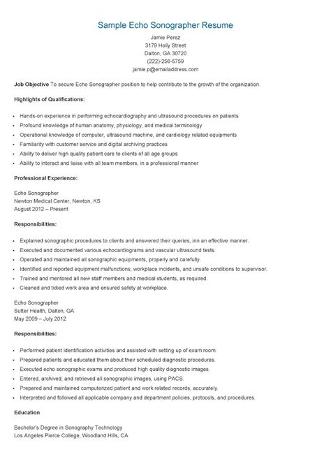 Cardiac Sonographer Resume Template by Sle Echo Sonographer Resume Resume Sles Resame
