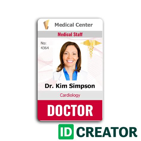 staff id badge template doctor id card 4 healthcare hospital badge id card