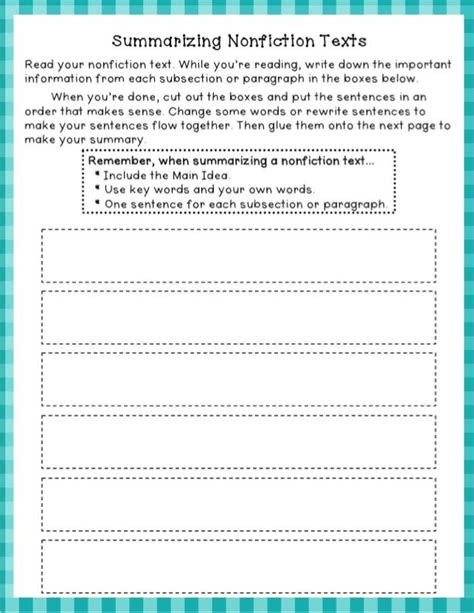 Summary And Idea Worksheet 1 Answers by Summarizing Nonfiction Freebie Autism