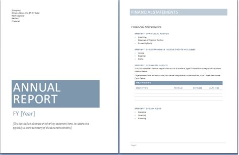 annual report template word templates