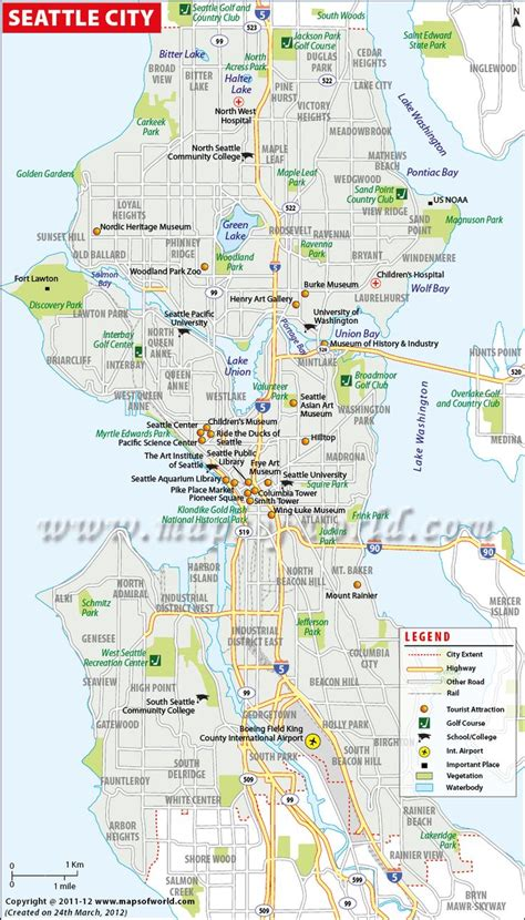 printable seattle area map seattle city map maps of world pinterest seattle