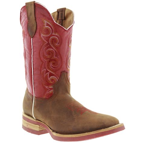 Sepatu Country Boots Casual Brown Originla Handmade s brown western leather cowboy boots rodeo broad square toe ebay