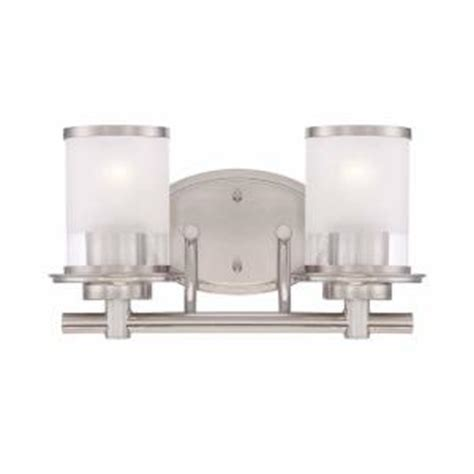 Hton Bay 4 Light Brushed Nickel Bath Light 05382 The Home Depot Hton Bay 2 Light Brushed Nickel Bath Bar Light With Clear And Sand Glass Hb2578 35 The Home