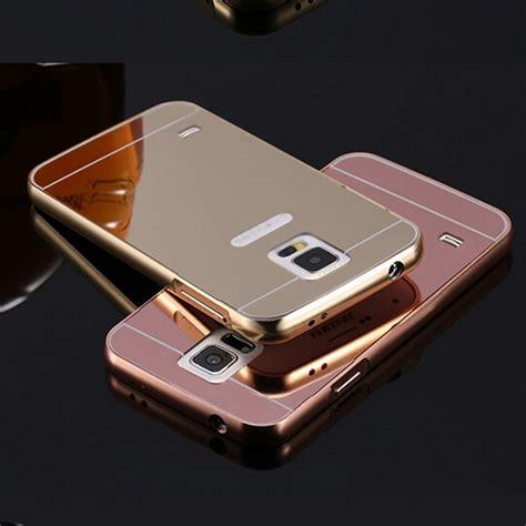Casing Mirror Samsung Galaxy E5 Mirror Aluminium Back Pc Bumper for samsung galaxy s5 minni g800 luxury gold aluminum mirror back cover for