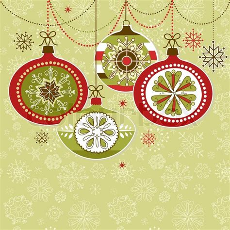 retro christmas ornaments stock vector colourbox