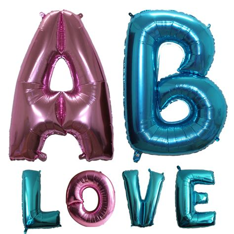 Foil Balloons Balon Foil Huruf A Z Pink large 40 inch light blue pink letter foil balloons birthday wedding decorations a z helium