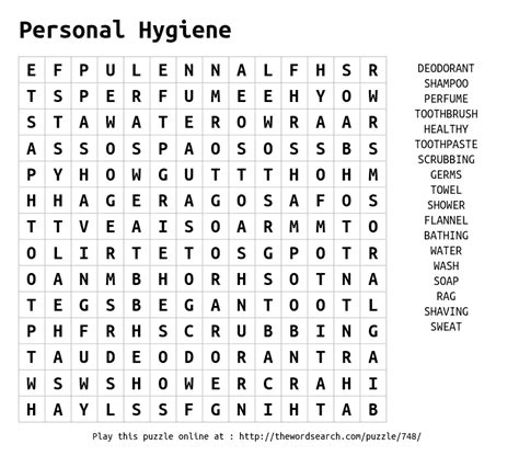 Download Word Search on Personal Hygiene