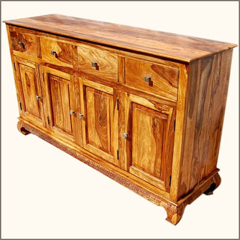 Rustic Furniture Solid Wood 4 Storage Drawer Sideboard Solid Wood Sideboards And Buffets