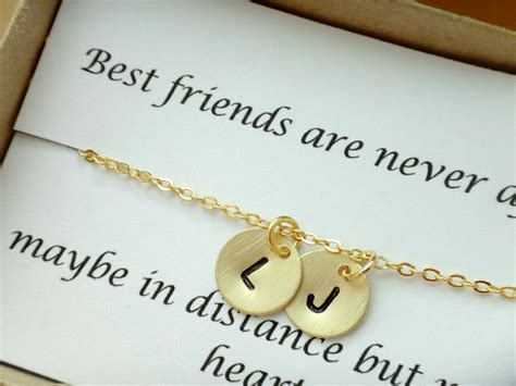 2 initial best friend necklace personalized gifts for best