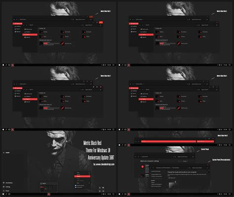 themes black windows 10 metric black red theme for windows10 anniversary update