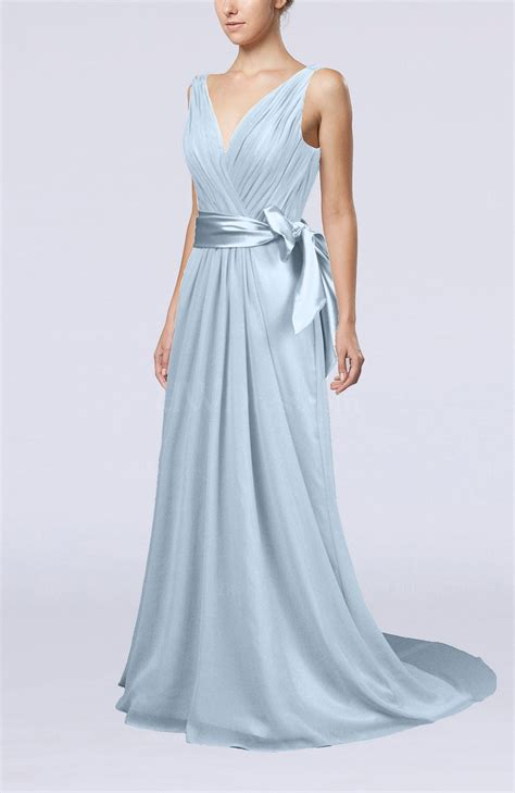 ice blue elegant    neck sleeveless chiffon ruching bridesmaid dresses uwdresscom