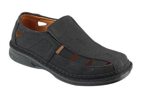 mens leather brown black casual summer closed toe