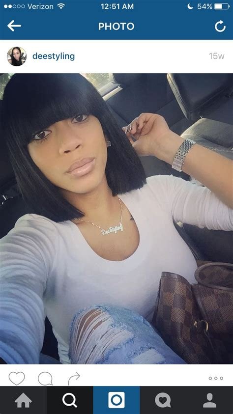 short bob weave with a woman wearing a bathing suit bang bob full weave idea hair pinterest full weave