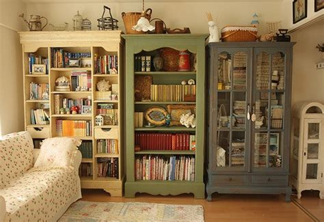 shabby chic shelving mismatched bookcases apartment therapy
