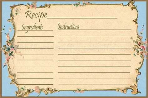 Retro Recipe Cards Vintage Template Free Word by Recipe Card 4x6 Vintage Floral Blue Printable Digital