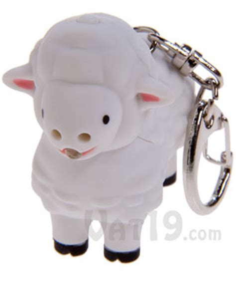 cow keychain led light duck pig cow owl and sheep keychains with led light