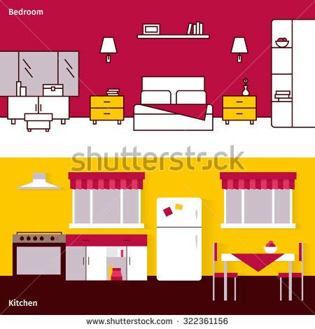 bedroom interior banners set in flat style vector house interior living room bedroom office stock vector