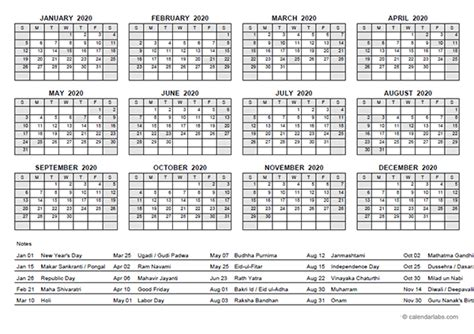 yearly calendar  india holidays  printable templates