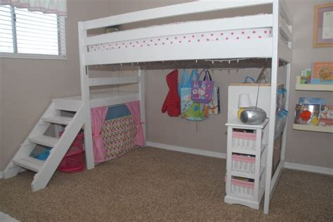 bunk bed with play area underneath diy twin loft bed for under 100 for less