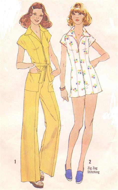 jumpsuit patterns for ladies 70s wide leg zipper front womens jumpsuit or romper
