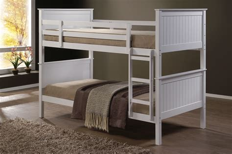 Single Bed Bunk Bed Jade Fixed Ladder White Single Bunk Beds