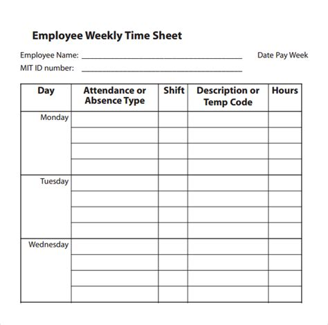 simple weekly time card template 32 simple timesheet templates free sle exle