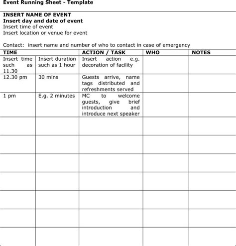 event run sheet template 5 run sheet templates free