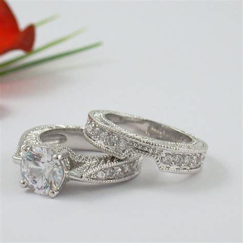 1 carat cz cubic zirconia engagement ring set size 5