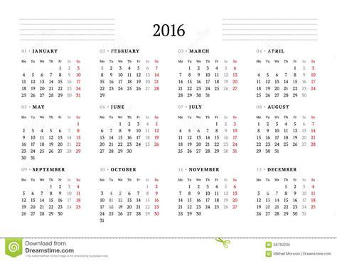 Calendario De 12 Meses Calend 225 Simples Para 2016 12 Meses A Semana Come 231 A