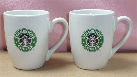 birdsvintageemporium starbucks white open handle set of starbucks set of 2 siren logo barrel coffee mugs on storenvy