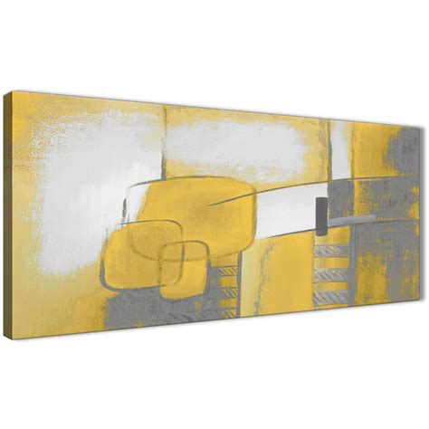 mustard yellow grey painting bedroom canvas wall art accessories abstract 1419 120cm print