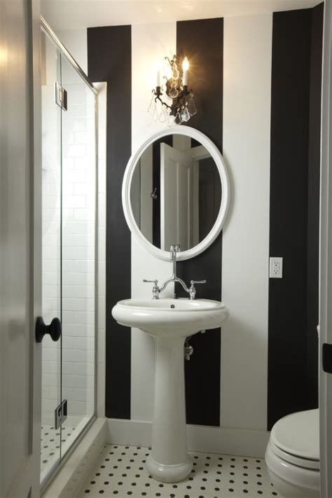 striped bathrooms decorating with bold black and white stripes ideas