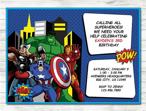 printable birthday card avengers avengers invitation avengers party avengers printable