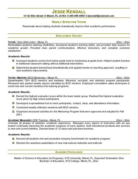 Tutor Resumes by Free Tutor Resume Exle
