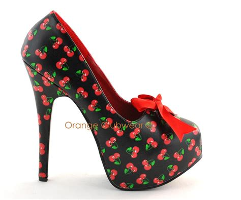 pinup burlesque retro rockabilly cherry high heels shoe ebay
