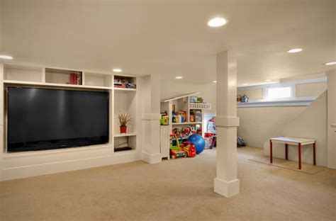 maximize space tv wall basement design ideas for a child friendly place