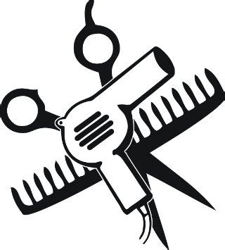 Hair Dryer Clipart Black And White scissors and comb and hair dryer 5 quot
