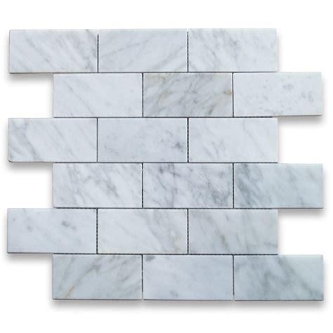 bianco white carrara marble 2x4 brick pattern polished mosaic tile